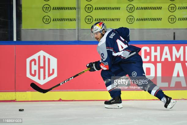 Yasin Ehliz of EHC Muenchen in action during the Champions Hockey League quarter finals second leg match between EHC Red Bull Muenchen and Djurgarden...