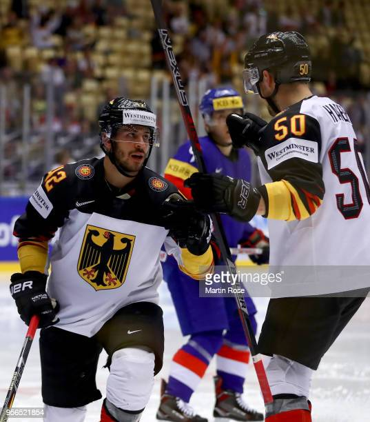 Yasin Ehliz of Germany celebrate with team mate Patrick Hager after he scores the 2nd goal during the 2018 IIHF Ice Hockey World Championship group...