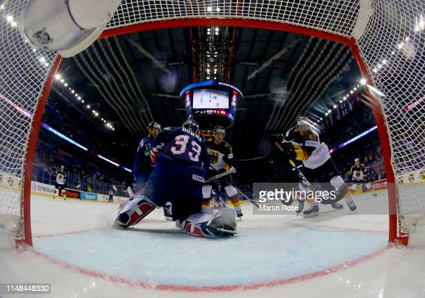 Yasin Ehliz of Germany scores the 2nd goal during the 2019 IIHF Ice Hockey World Championship Slovakia group A game between Germany and Great Britain...