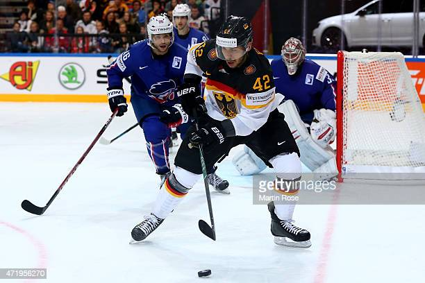 Yasin Ehliz of Germnay skates against France during the IIHF World Championship group A match between France and Germany at o2 Arena on May 2 2015 in...
