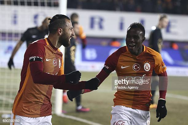 Yasin Oztekin and Bruma of Galatasaray celebrate after scoring a goal during the Turkish Spor Toto Super Lig football match between Osmanlispor and...