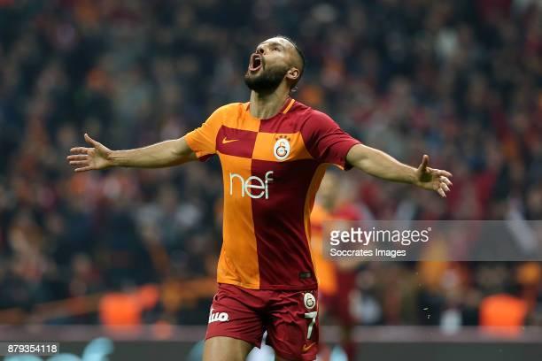 Yasin Oztekin of Galatasaray celebrates 1-0 during the Turkish Super lig match between Galatasaray v Alanyaspor at the Turk Telecom Stadum on...