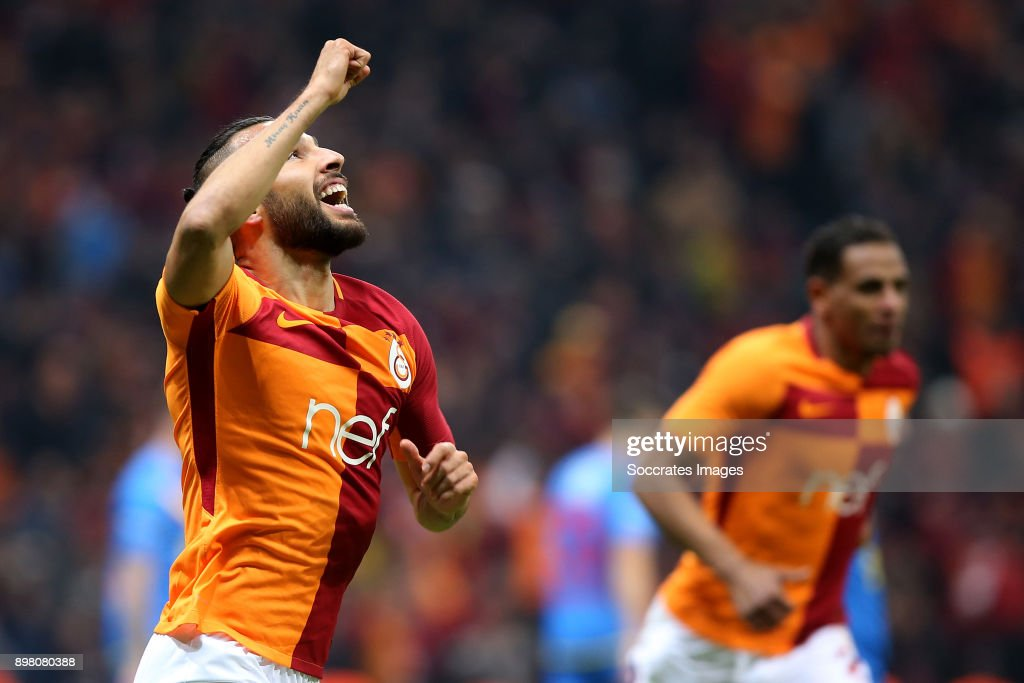 Yasin Oztekin of Galatasaray celebrates 2-1 during the Turkish Super lig match between Galatasaray v Goztepe at the Turk Telekom Stadium on December 24, 2017 in Istanbul Turkey