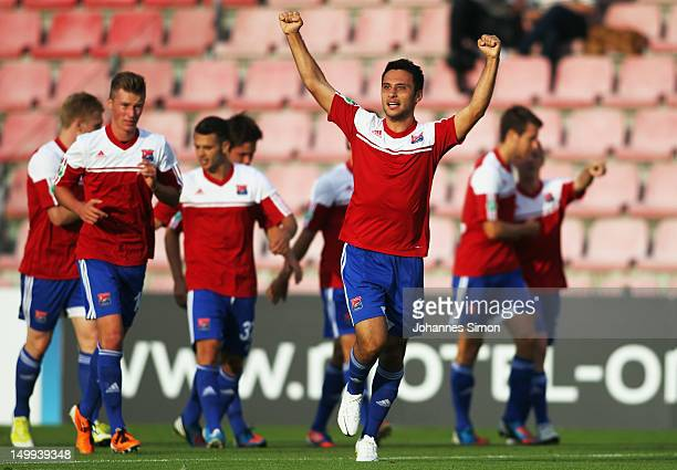 Yasin Yilmaz of Unterhaching celebrates after scoring his team's first goal during the Third League match between SpVgg Unterhaching and 1. FC...