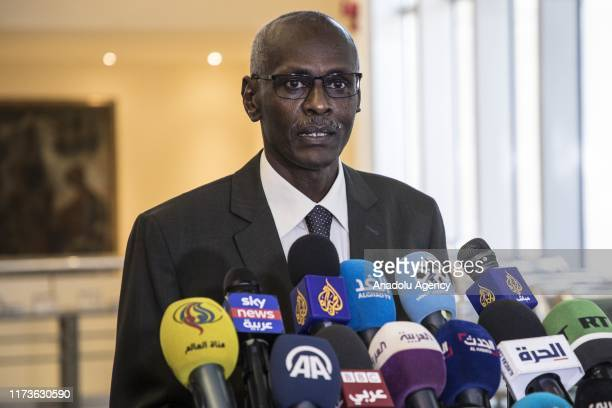 Yasir Abbas Minister for Water Resources Irrigation and Electricity of Sudan speaks to media after the talks on Hidase Dam built on the Blue Nile...