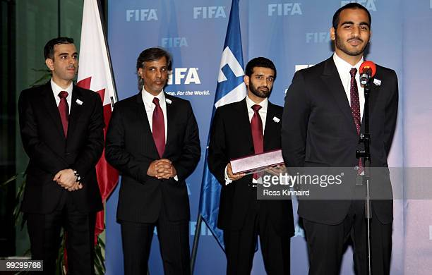 Yasir Al Jamal Technical Bid DirectorSheik Hamad bin Khalifa Al Thani QFA President Hassan Al Thawai CEO Qatar 2022 Bid Committee and His Excellency...