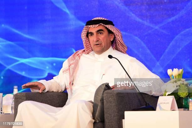 Yasir al-Rumayyan, chairman of Saudi Aramco, speaks during a press conference in the eastern Saudi Arabian region of Dhahran on November 3, 2019. -...