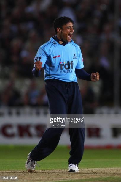 Yasir Arafat of Sussex celebrates winning the Twenty20 Cup Final between Somerset and Sussex at Edgbaston on August 15, 2009 in Birmingham, England.