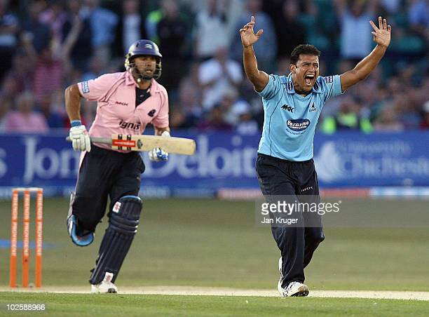 Yasir Arafat of Sussex has his appeal at lbw turned down during the Friends Provident T20 match between Sussex and Middlesex at the County Ground on...