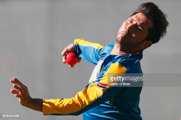 Yasir Shah during a Pakistan nets session at The Gabba on December 13 2016 in Brisbane Australia