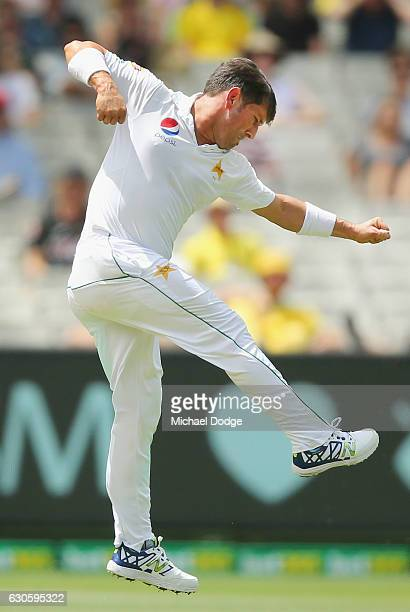 Yasir Shah of India celebrates the wicket of Matthew Renshaw of Australia during day three of the Second Test match between Australia and Pakistan at...