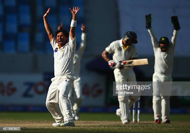 Yasir Shah of Pakistan appeals for the wicket of Mitchell Johnson of Australia during Day Five of the First Test between Pakistan and Australia at...
