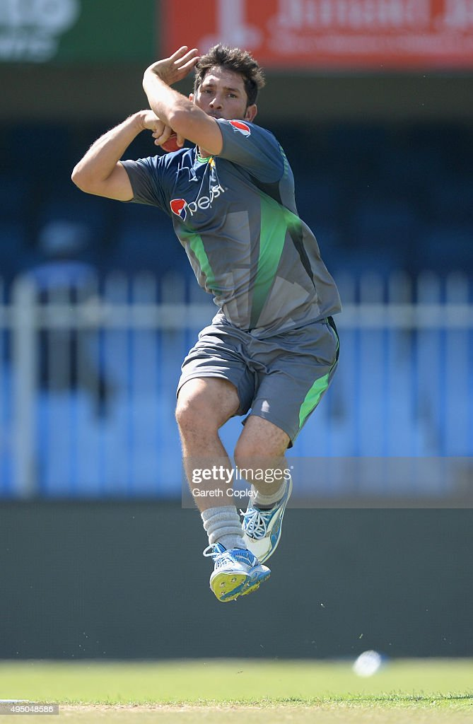 Yasir Shah of Pakistan bowls during a nets session at Sharjah Cricket Stadium on October 31, 2015 in Sharjah, United Arab Emirates.