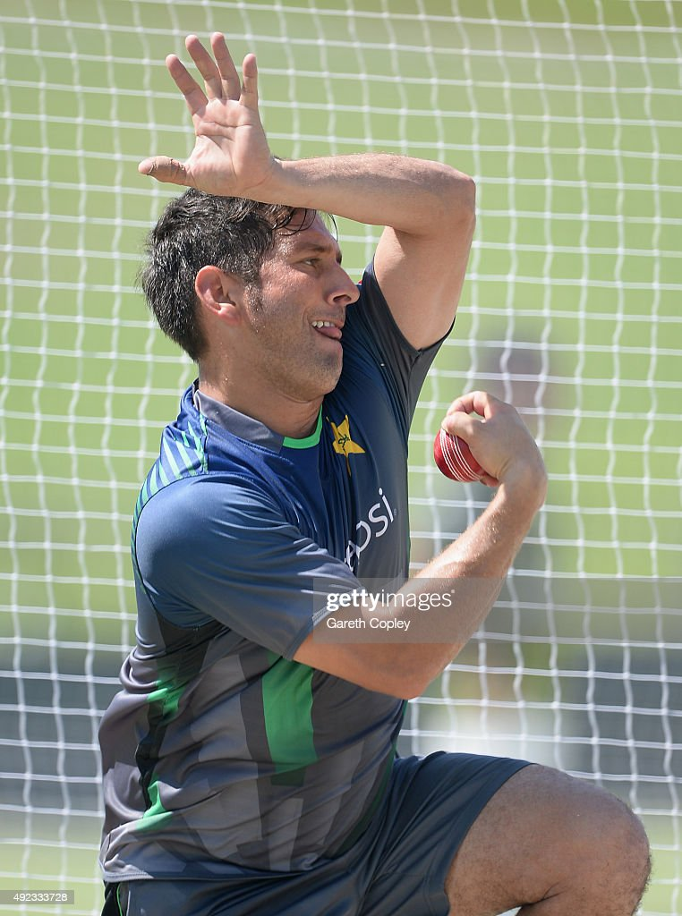 Yasir Shah of Pakistan bowls during a nets session at Zayed Cricket Stadium on October 12, 2015 in Abu Dhabi, United Arab Emirates.