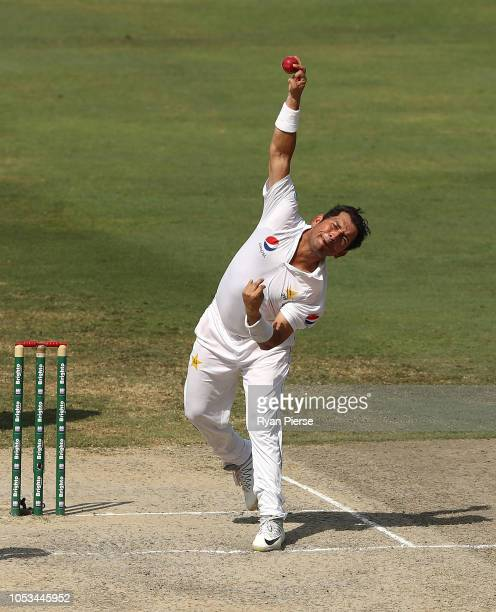 Yasir Shah of Pakistan bowls during day five of the First Test match in the series between Australia and Pakistan at Dubai International Stadium on...