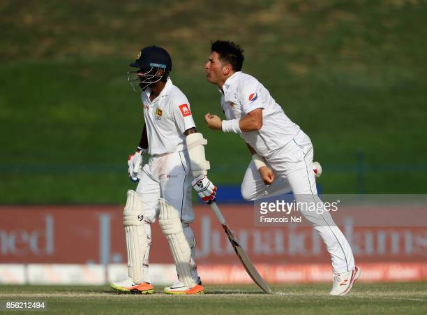 Yasir Shah of Pakistan bowls during Day Four of the First Test between Pakistan and Sri Lanka at Sheikh Zayed stadium on October 1 2017 in Abu Dhabi...
