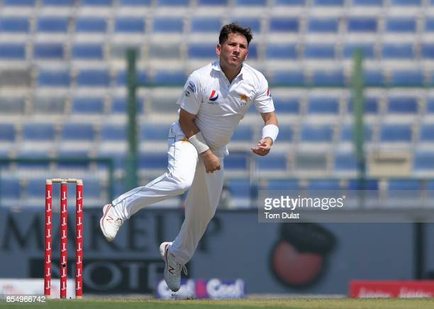Yasir Shah of Pakistan bowls during Day One of the First Test between Pakistan and Sri Lanka at Sheikh Zayed Stadium on September 28 2017 in Abu...