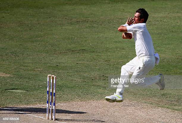 Yasir Shah of Pakistan bowls during Day Two of the Second Test between Pakistan and New Zealand at Dubai International Stadium on November 18 2014 in...