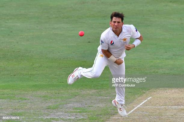 Yasir Shah of Pakistan bowls during the first day of the second Test cricket match between Sri Lanka and Pakistan at Dubai International Stadium in...
