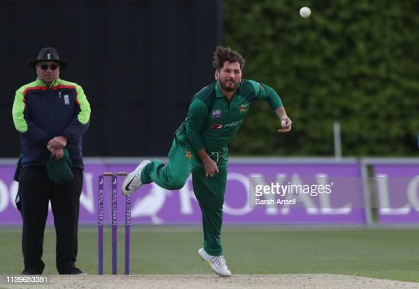 Yasir Shah of Pakistan bowls during the tour match between Kent and Pakistan on April 27 2019 at the County Ground Beckenham England