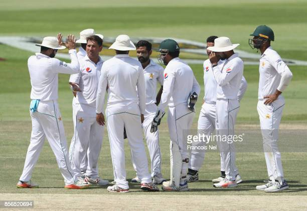Yasir Shah of Pakistan celebrate after dismissing Dilruwan Perera of Pakistan during Day Five of the First Test between Pakistan and Sri Lanka at...
