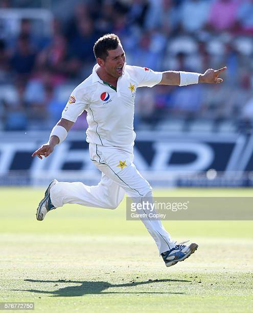 Yasir Shah of Pakistan celebrates after dismissing Chris Woakes of England during day four of the 1st Investec Test between England and Pakistan at...