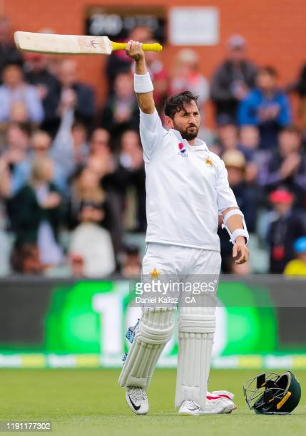 Yasir Shah of Pakistan celebrates after reaching his century during day 3 at Adelaide Oval on December 01 2019 in Adelaide Australia