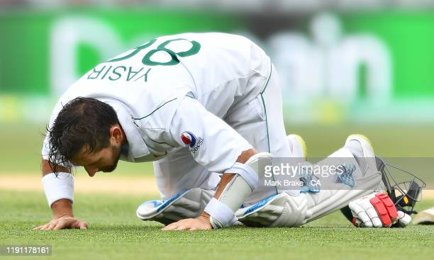 Yasir Shah of Pakistan celebrates bringing up his century during day three of the 2nd Domain Test between Australia and Pakistan at Adelaide Oval on...