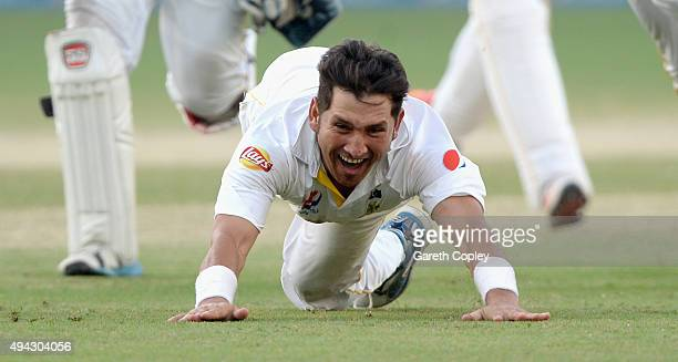 Yasir Shah of Pakistan celebrates dismissing Adil Rashid of England to win the 2nd test match between Pakistan and England at Dubai Cricket Stadium...