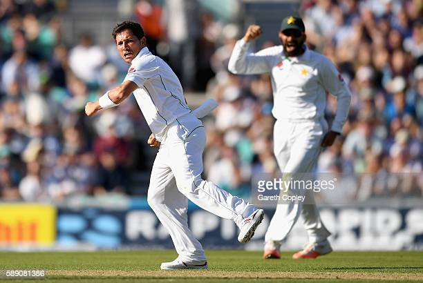 Yasir Shah of Pakistan celebrates dismissing Alex Hales of England during day three of the 4th Investec Test between England and Pakistan at The Kia...