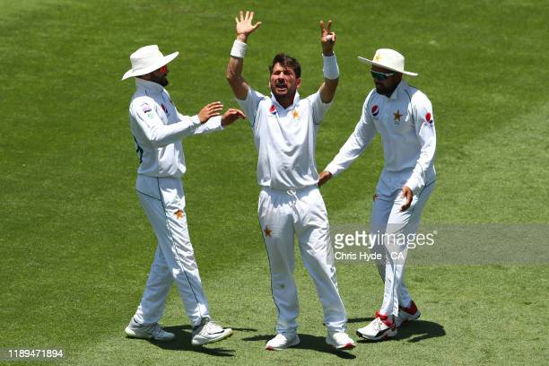 Yasir Shah of Pakistan celebrates dismissing Steven Smith of Australia during day three of the 1st Domain Test between Australia and Pakistan at The...