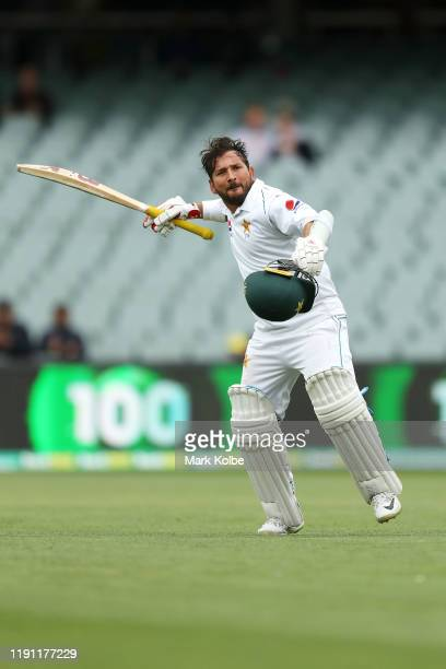 Yasir Shah of Pakistan celebrates his century during day three of the 2nd Domain Test between Australia and Pakistan at the Adelaide Oval on December...