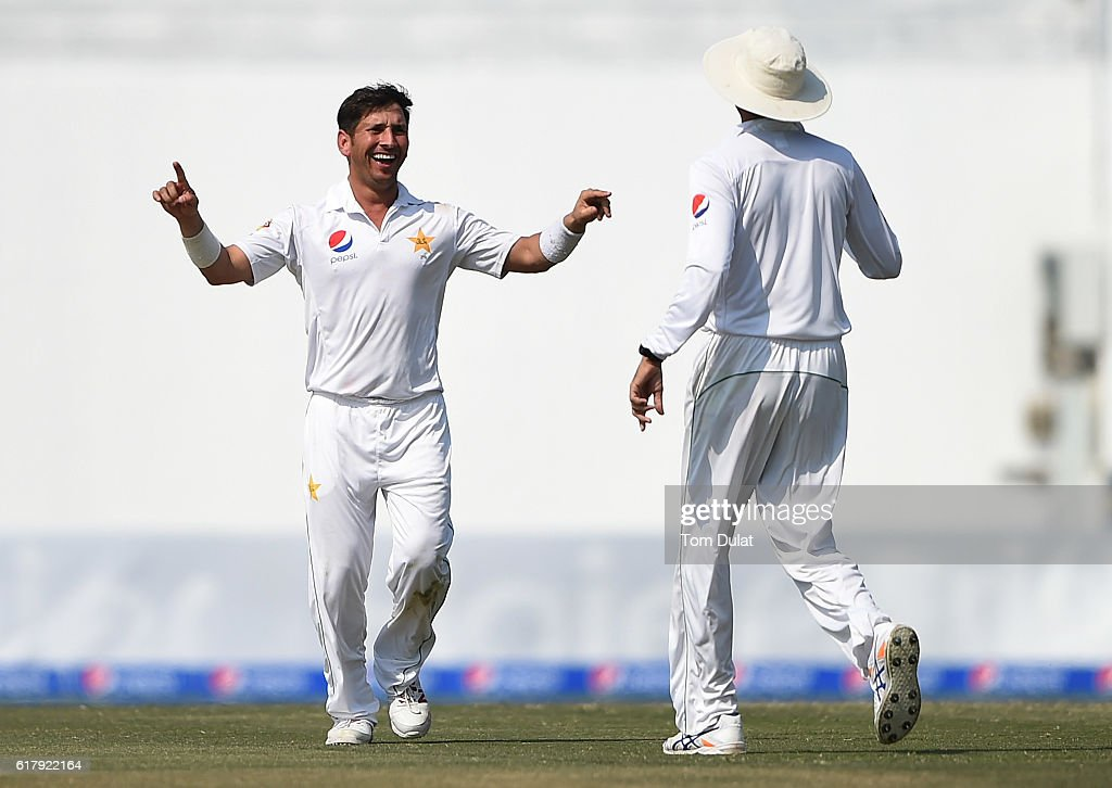 Yasir Shah of Pakistan celebrates taking the wicket of Miguel Cummins of West Indies during Day Five of the Second Test between Pakistan and West Indies at Zayed Cricket Stadium on October 25, 2016 in Abu Dhabi, United Arab Emirates.
