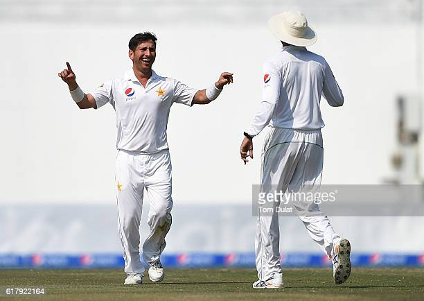 Yasir Shah of Pakistan celebrates taking the wicket of Miguel Cummins of West Indies during Day Five of the Second Test between Pakistan and West...