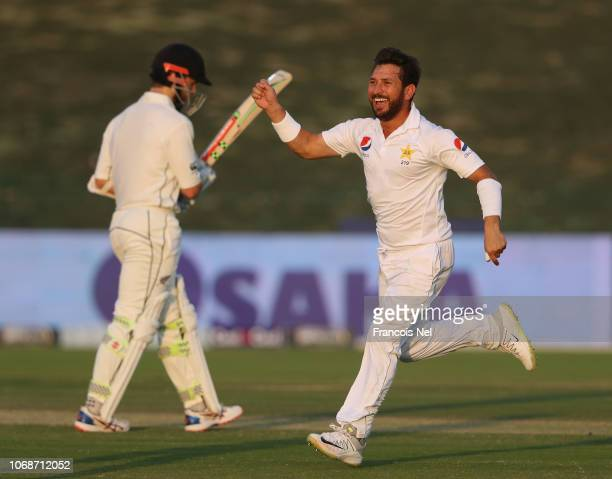 Yasir Shah of Pakistan celebrates the wicket of Tom Latham of New Zealand during day three of The Third Test match between New Zealand an Pakistan at...