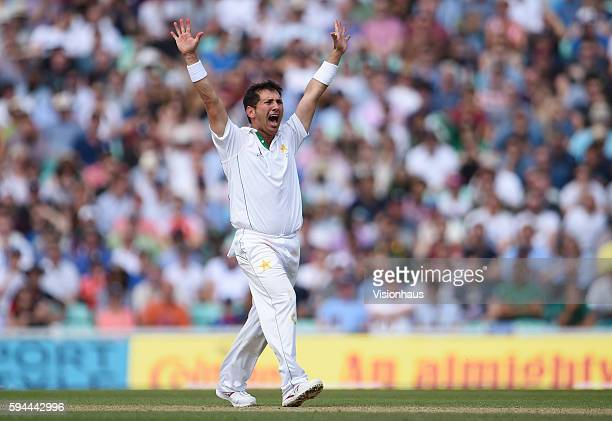 Yasir Shah of Pakistan during day four of the fourth Investec test match between England and Pakistan at The Kia Oval on August 14 2016 in London...