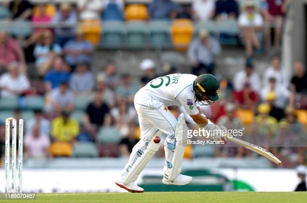 Yasir Shah of Pakistan is clean bowled by Mitchell Starc of Australia during day one of the 1st Domain Test between Australia and Pakistan at The...