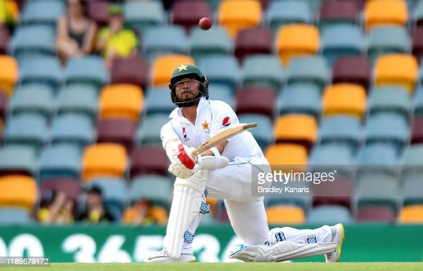 Yasir Shah of Pakistan plays a shot during day four of the 1st Domain Test between Australia and Pakistan at The Gabba on November 24 2019 in...