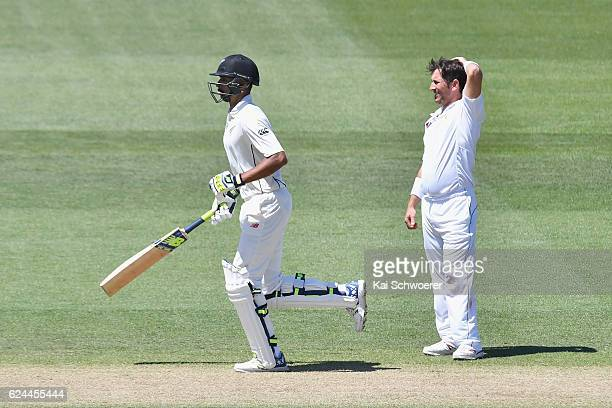 Yasir Shah of Pakistan reacts while Jeet Raval of New Zealand makes a run during day four of the First Test between New Zealand and Pakistan at...