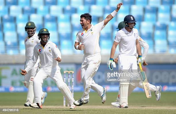 Yasir Shah of Pakistan successfully appeals for the wicket of Jos Buttler of England during day five of the 2nd test match between Pakistan and...