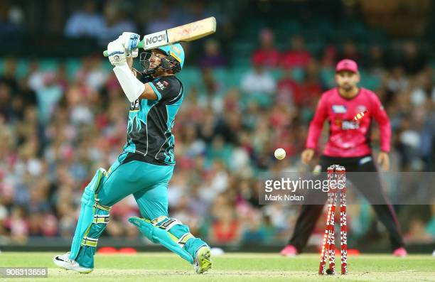 Yasir Shah of the Heat is bowled by Carlos Brathwaite of the Sixers during the Big Bash League match between the Sydney Sixers and the Brisbane Heat...