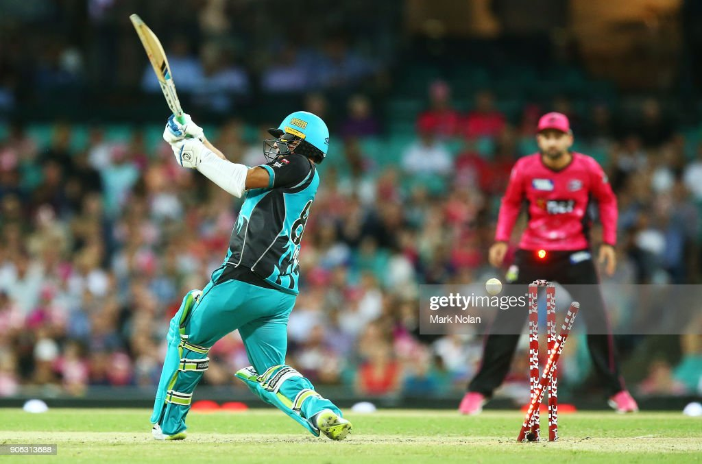 Yasir Shah of the Heat is bowled by Carlos Brathwaite of the Sixers during the Big Bash League match between the Sydney Sixers and the Brisbane Heat at Sydney Cricket Ground on January 18, 2018 in Sydney, Australia.