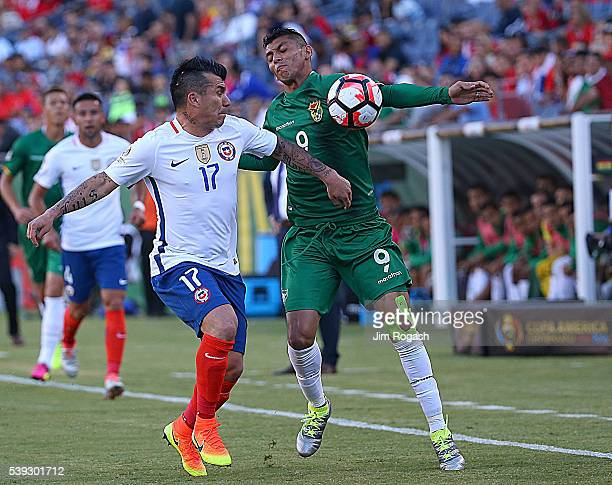 Yasmani Duk of Bolivia battles Gary Medel of Chile during a 2016 Copa America Centenario Group D match between Chile and Bolivia in the first half at...