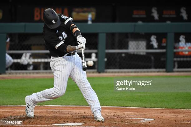 Yasmani Grandal of the Chicago White Sox bats during Summer Workouts at Guaranteed Rate Field on July 16 2020 in Chicago Illinois