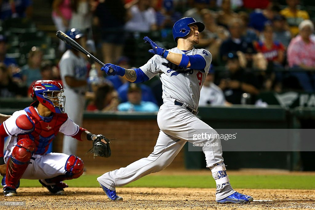 Yasmani Grandal #9 of the Los Angeles Dodgers hits a home run in the eighth inning during a game against the Texas Rangers at Globe Life Park in Arlington on June 15, 2015 in Arlington, Texas. The Texas Rangers defeated the Los Angeles Dodgers 4-1.