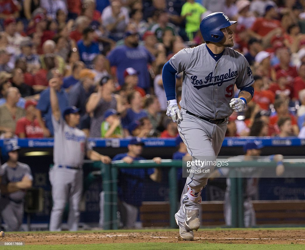Yasmani Grandal #9 of the Los Angeles Dodgers hits a two run home run in the top of the sixth inning against the Philadelphia Phillies at Citizens Bank Park on August 16, 2016 in Philadelphia, Pennsylvania. The Dodgers defeated the Phillies 15-5.