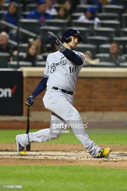 Yasmani Grandal of the Milwaukee Brewers in action against the New York Mets at Citi Field on April 27 2019 in New York City Milwaukee Brewers...