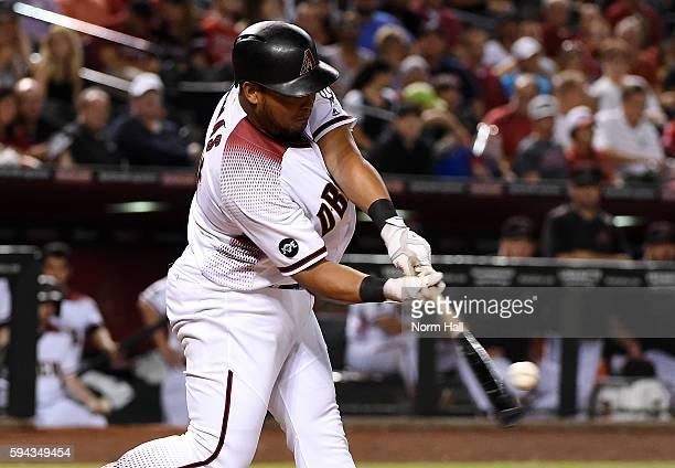 Yasmany Tomas of the Arizona Diamondbacks hits a two run home run off of Mike Foltynewicz of the Atlanta Braves during the third inning at Chase...