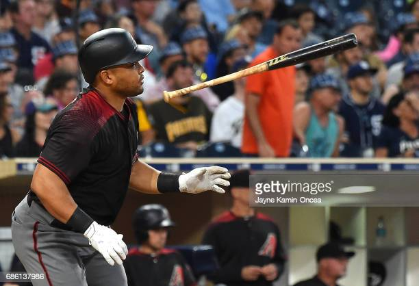 Yasmany Tomas of the Arizona Diamondbacks singles in a run in the second inning of the game against the San Diego Padres at Petco Park on May 20,...