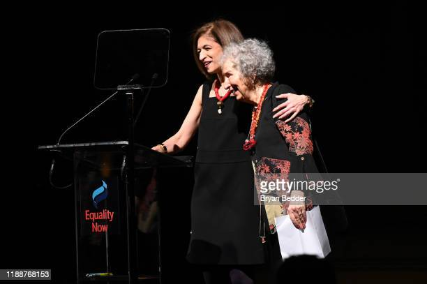 Yasmeen Hassan and Margaret Atwood speak on stage during the annual Make Equality Reality Gala hosted by Equality Now on November 19 2019 in New York...